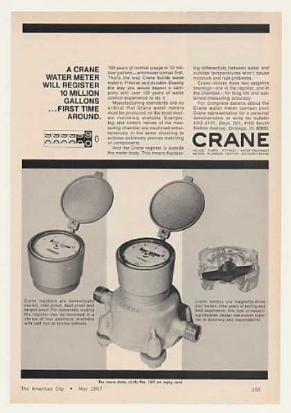 Crane Water Meter Register 10 Million Gallons (1967)