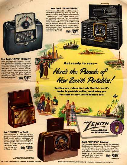 Zenith Radio Corporation's Portable radios – Get ready to rave – Here's the Parade of New Zenith Portables (1949)