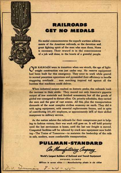 Pullman-Standard Car Manufacturing Company – Railroads Get No Medals (1945)