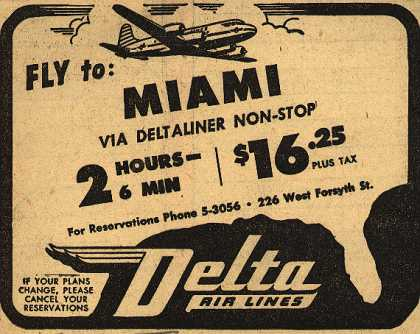 Delta Airline's Miami – Fly to: Miami via Deltaliner Non-Stop (1946)