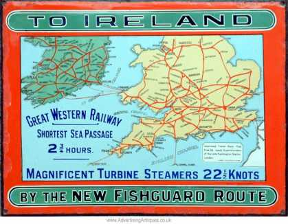 GWR Fishgaurd to Ireland Railway Sign