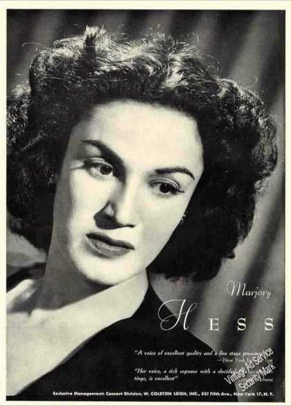 Nice Marjory Hess Photo Music Booking (1944)