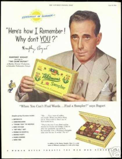 Humphrey Bogart Vintage Whitman's Chocolate (1954)