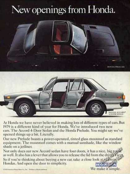 """New Openings From Honda"" Accord & Prelude Car (1979)"