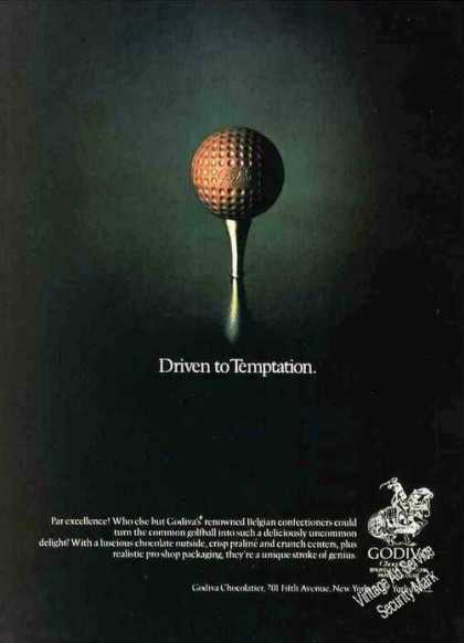 Godiva Chocolates Driven To Temptation Golfball (1982)