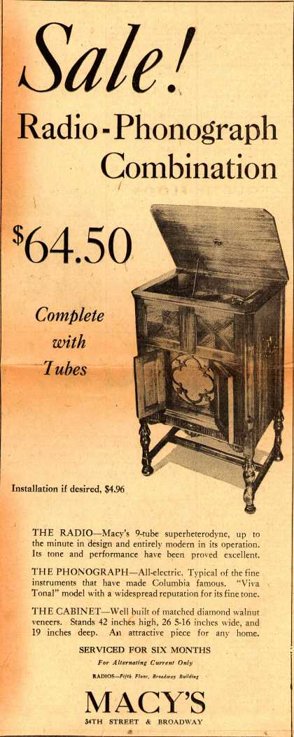 Macy's 9-tube superheterodyne – Sale! Radio-Phonograph Combination (1932)