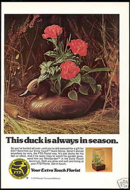 FTD Florist flowers Duck Decoy In Season Photo (1975)
