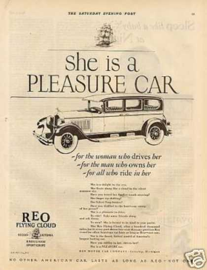 "Reo Flying Cloud Car Ad ""She Is a Pleasure... (1927)"