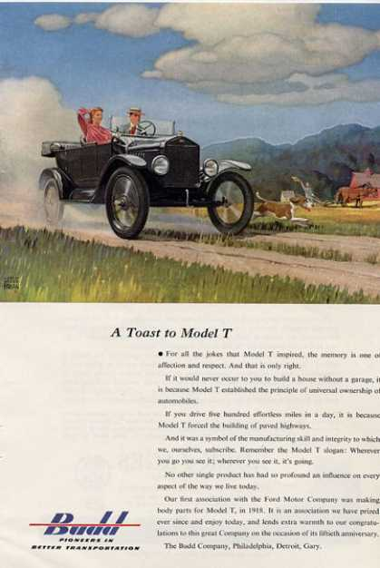 Budd Ford Model T Car Convertible Ad T (1953)