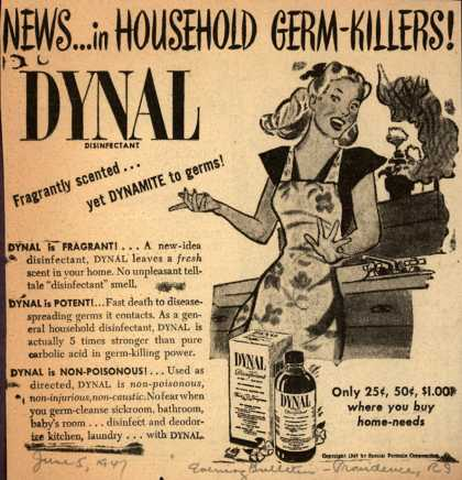 Special Formula Corp.'s Dynal Disinfectant – News ... In Household Germ Killers (1947)