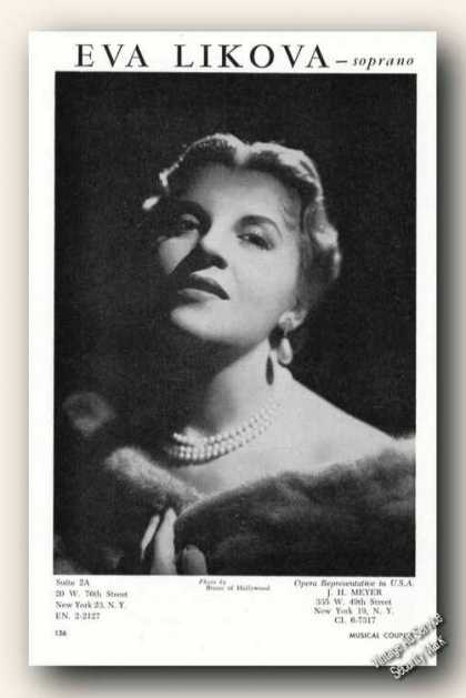 Eva Likova Photo Music Ad Soprano (1957)