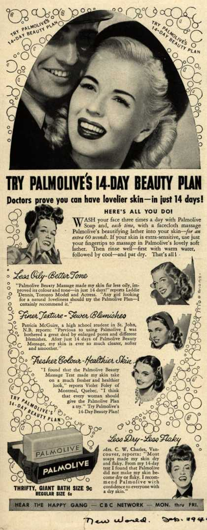 Palmolive Company's Palmolive Soap – Try Palmolive's 14 Day Beauty Plan (1946)
