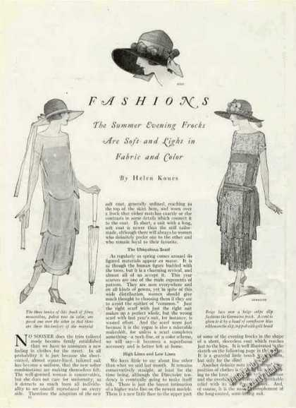 Fashions Magazine Drawings & Article Summer Frocks (1924)