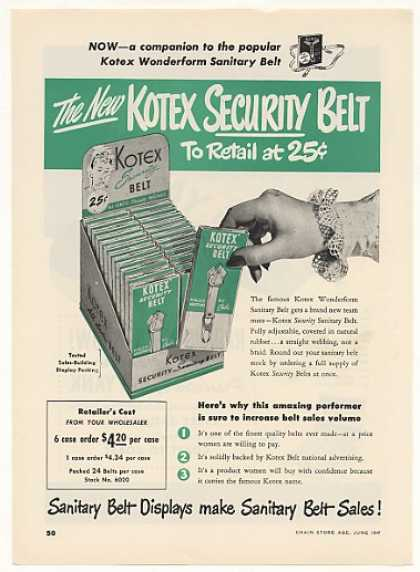 Kotex Security Sanitary Belt (1948)