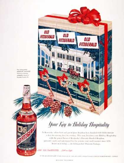Old Fitzgerald Whiskey – Your key to holiday hospitality (1951)