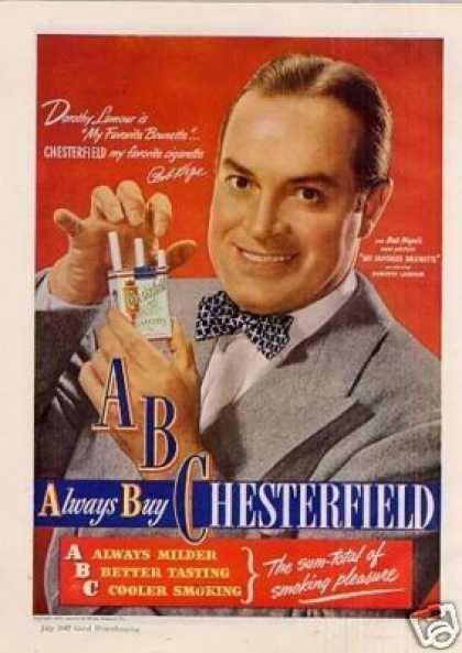 Chesterfield Cigarettes Ad Bob Hope (1947)