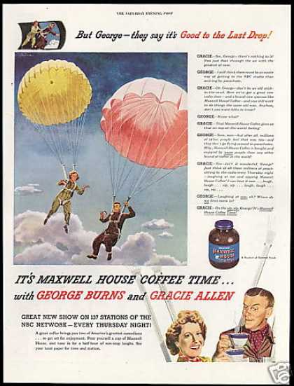 George Burns Parachute Maxwell House Coffee (1945)