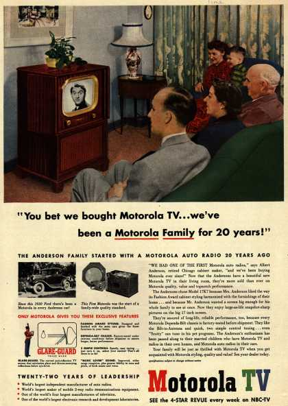 "Motorola's Model 17K7 – ""You bet we bought Motorola TV... we've been a Motorola Family for 20 years!"" (1951)"