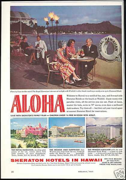 Sheraton 4 Hotel Hawaii Photo Vintage (1961)