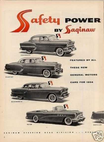 Saginaw Power Steering 2 Pg Ad General Motors Cars (1954)
