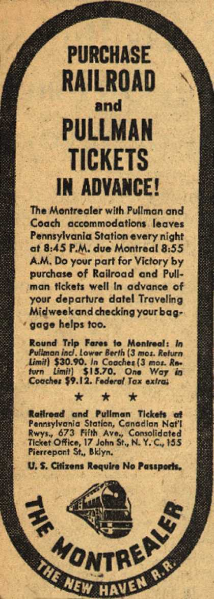 New Haven Railroad's The Montrealer – Purchase Railroad and Pullman Tickets In Advance (1945)