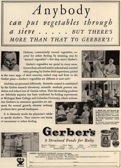 Gerber Products Company's Gerber Strained Foods for Baby – Anybody Can Put Vegetables Through a Sieve... (1934)