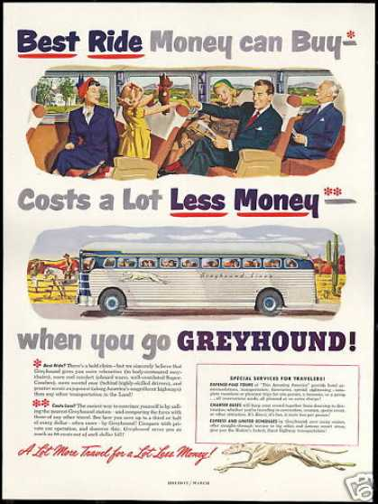 Greyhound Bus Travel Best Ride Less Money (1950)