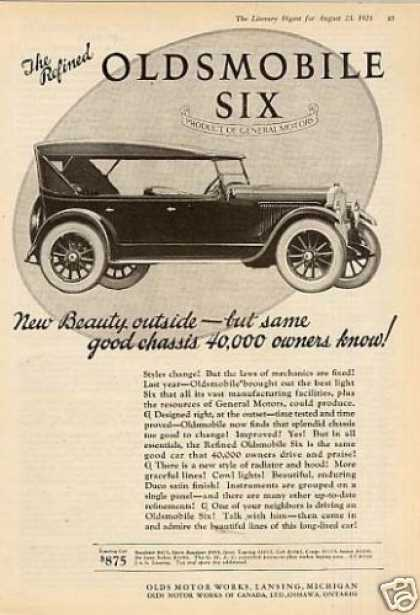 "Oldsmobile Six Car Ad ""New Beauty Outside... (1924)"