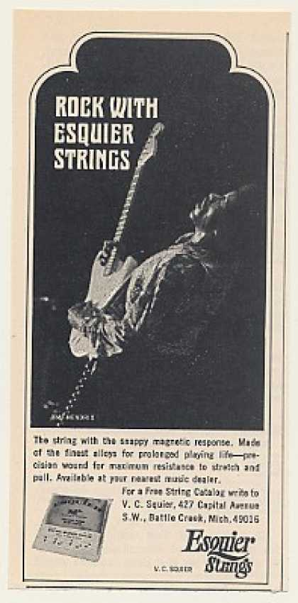 Jimi Hendrix Esquier Guitar Strings Photo (1969)