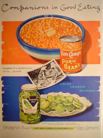 Van Camp's Pork Beans Stokely's Pickle Chips (1952)