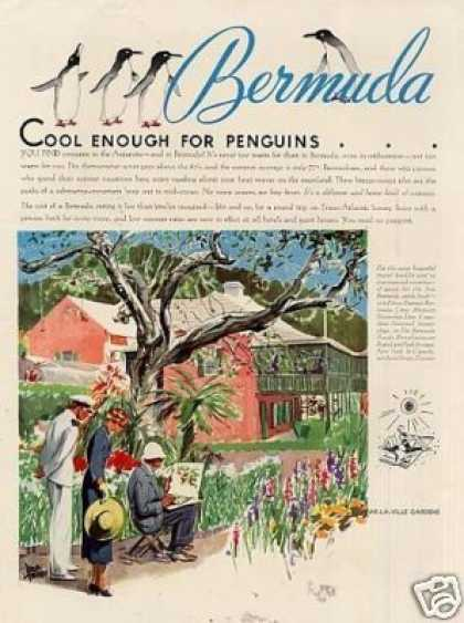 Bermuda Travel Color Ad Adolph Treidler Art (1935)