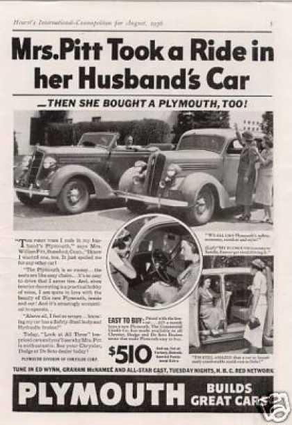 "Plymouth Car Ad ""Mrs. Pitt Took a Ride... (1936)"