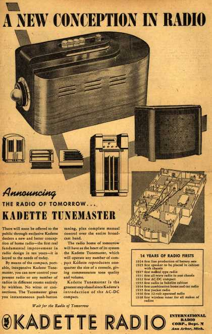 International Radio Corp.&#8217;s Kadette Tunemaster &#8211; A New Conception in Radio (1938)