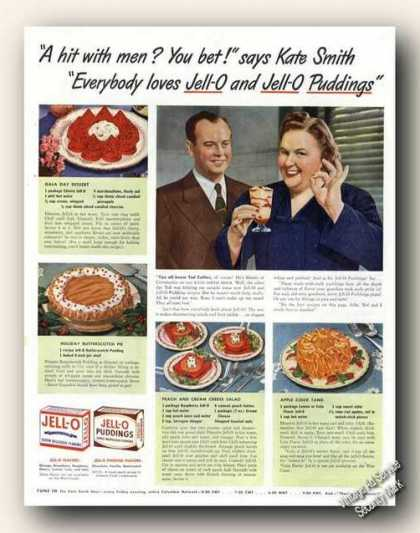 Kate Smith Photo Jell-o Recipes Color Food (1942)