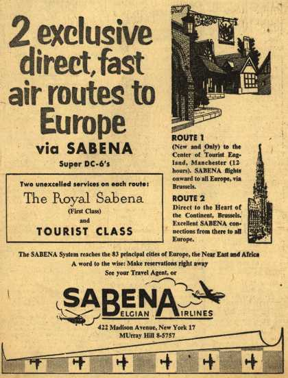Sabena Belgian Airline's Europe – 2 exclusive direct, fast air routes to Europe via Sabena (1954)