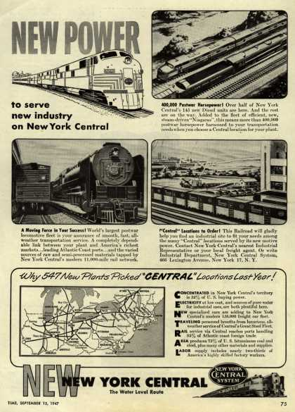 New York Central System's New York Central – New Power to serve new industry on New York Central (1947)