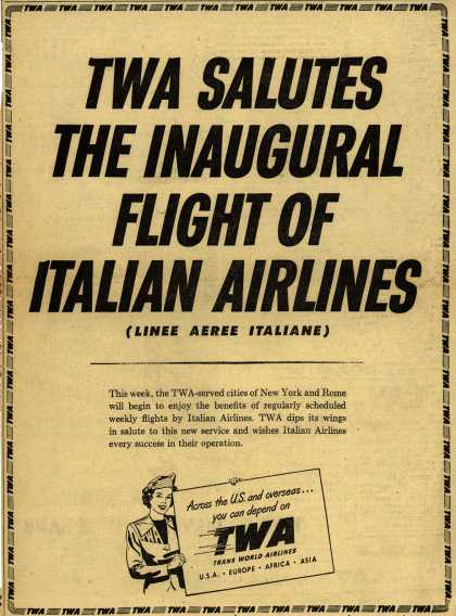 Trans World Airline's Italian Airlines – TWA Salutes The Inaugural Flight Of Italian Airlines (Linee Aeree Italiane) (1950)