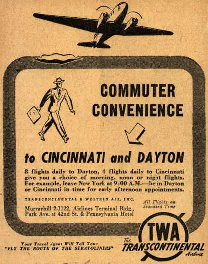 Transcontinental & Western Air's Cincinnati or Ohio – Commuter Convenience to Cincinnati and Dayton (1941)