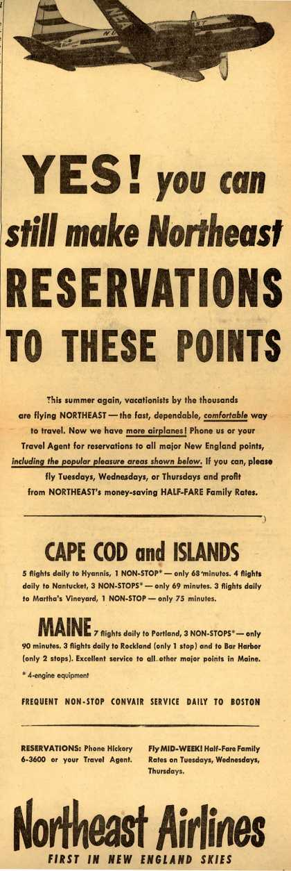 Northeast Airline's New England – Yes! you can still make Northeast Reservations To These Points (1952)