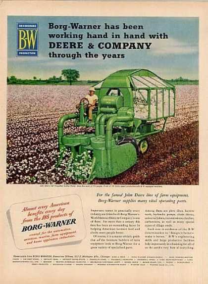 Borg-warner Ad John Deere Cotton Picker (1951)