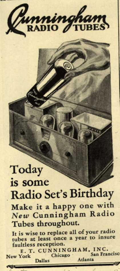 E.T. Cunningham's Radio Tubes – Today is some Radio Set's Birthday