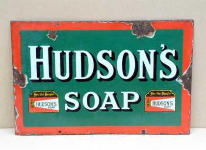 Small Hudson's Soap Enamel Sign