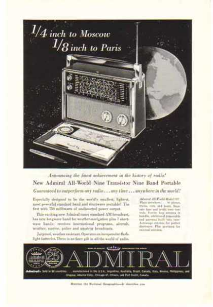 Admiral 9 Transistor – 9 Band Portable Radio / 750 milliwatts (1959)