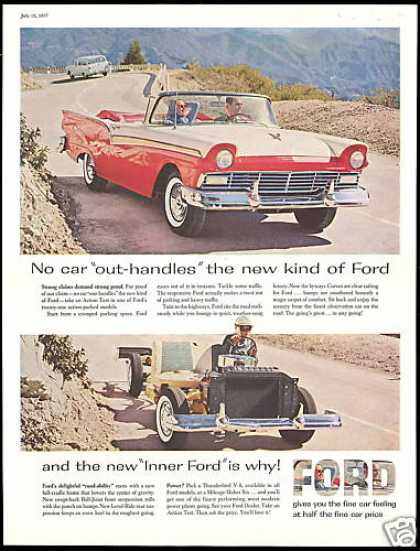 Ford Fairlane Convertible 2 Car Photo (1957)