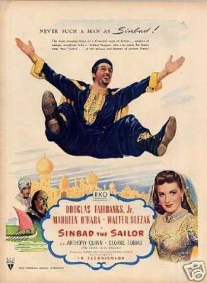 "Movie Ad ""Sinbad the Sailor"" Douglas Fairbanks, Jr (1946)"
