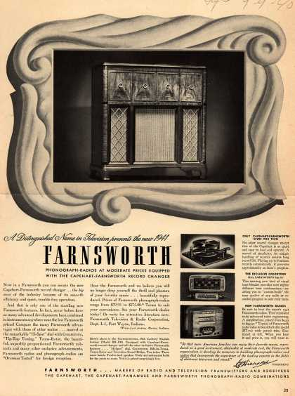 Farnsworth Television & Radio Corporation's Various – A Distinguished Name in Television presents the new 1941 Farnsworth Phonograph-Radios at Moderate Prices Equipped with the Capehart-Farnsworth Record (1940)