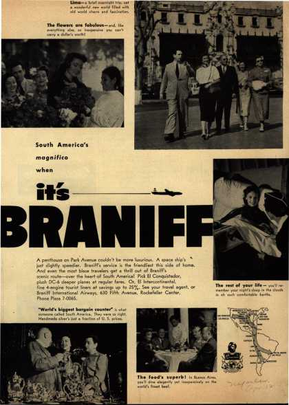 Braniff International Airway's South America – South America's magnifico when It's Braniff (1952)