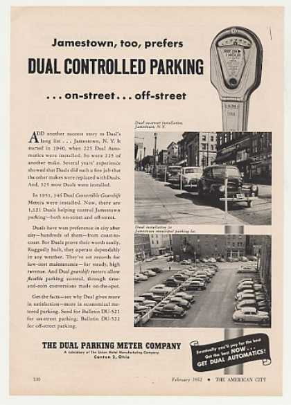 Jamestown NY Dual Parking Meter Photo (1952)