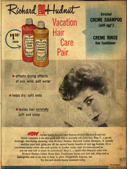 Richard Hudnut's shampoo and conditioner – Vacation Hair Care Pair (1952)