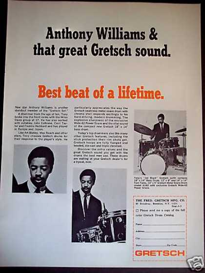 Drummer Anthony Williams Gretsch Drums Photo (1967)